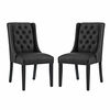 Baronet Dining Chair Vinyl Set of 2 in Black