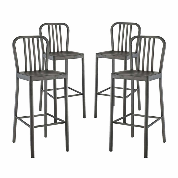 Clink Bar Stool Metal Set of 4 in Silver