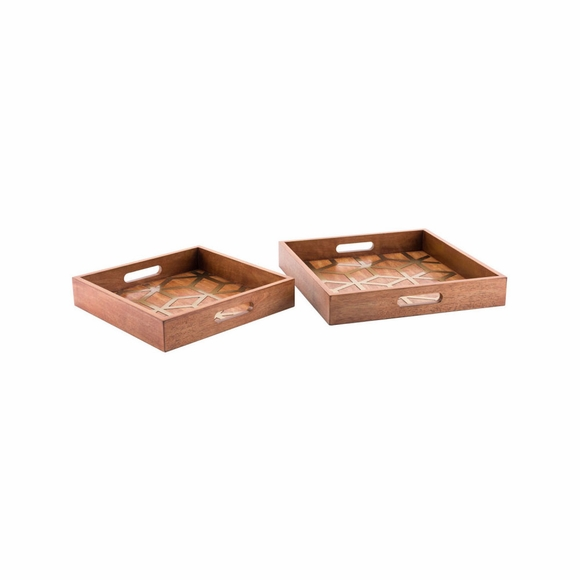 Clover Trays Set of 2 in Brown