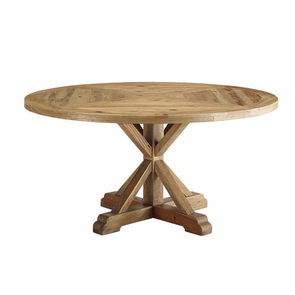 Column 59inch Round Pine Wood Dining Table in Brown