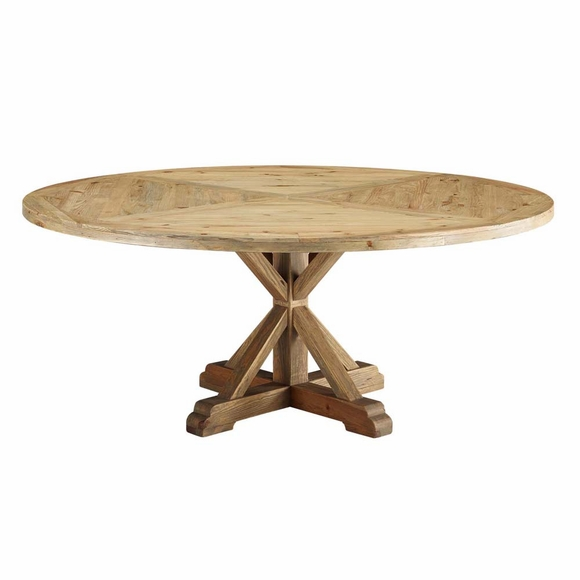 Column 71inch Round Pine Wood Dining Table in Brown