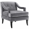 Concur Button Tufted Upholstered Velvet Armchair