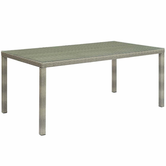 Conduit 70inch Outdoor Patio Wicker Rattan Dining Table in Light Gray