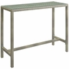 Conduit Outdoor Patio Wicker Rattan Large Bar Table in Light Gray