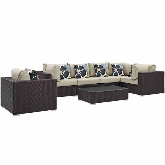 Convene 7 Piece Outdoor Patio Sectional Set MID-2350