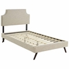 Corene Twin Fabric Platform Bed with Round Splayed Legs