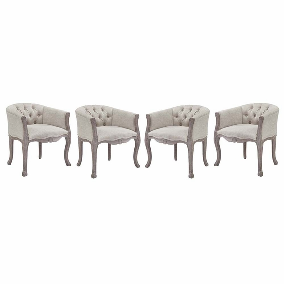 Crown Dining Armchair Upholstered Fabric Set of 4