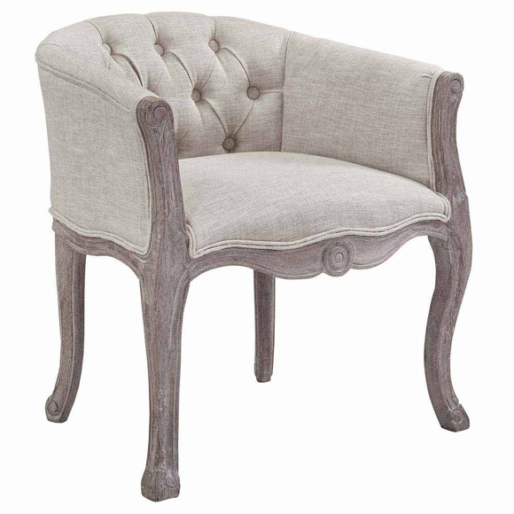 Crown Vintage French Upholstered Fabric Dining Armchair