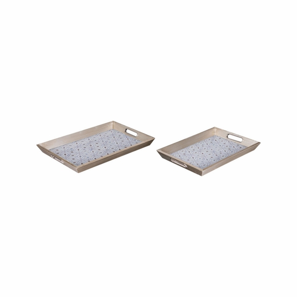 Cundri Trays Set of 2 in Antique Silver