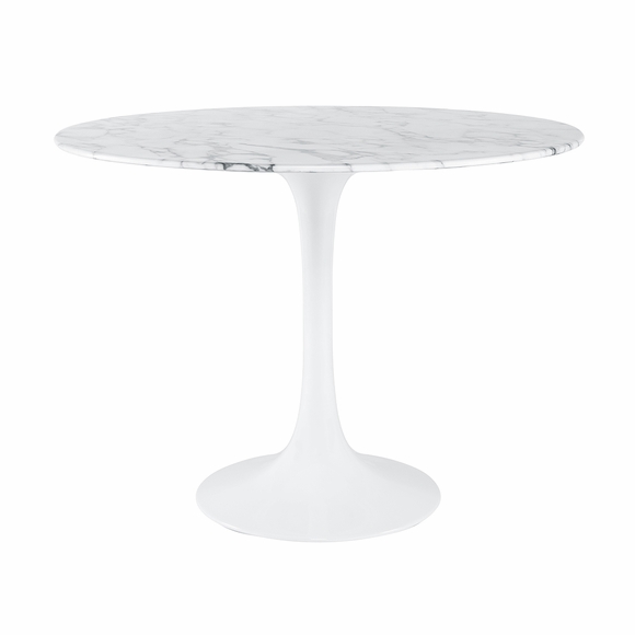 "Daisy 30"" Round Artificial Marble Dining Table in White"