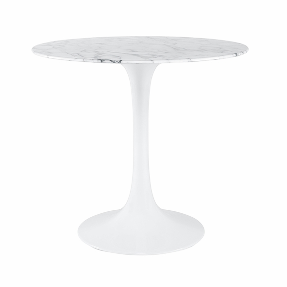 """Daisy 40"""" Round Artificial Marble Dining Table in White"""