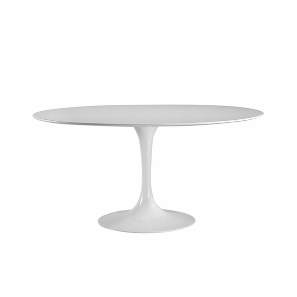 "Daisy 60"" Oval Wood Top Dining Table in White"