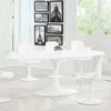 """Daisy 78"""" Oval Fiberglass Dining Table in White"""