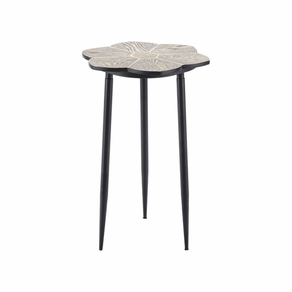 Daisy End Table Table in Distressed Natural & Black
