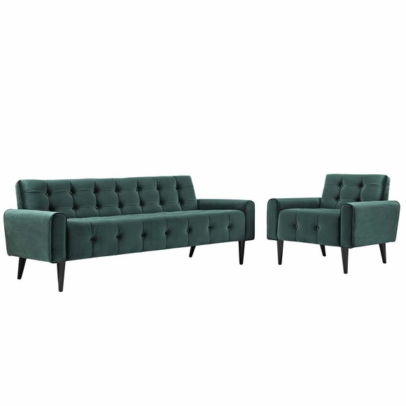 Delve Living Room Set Velvet Set of 2