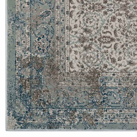 Dilys Distressed Vintage Floral Lattice 8x10 Area Rug In