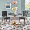 "Drive 40"" Round Wood Top Dining Table in Black Gold"