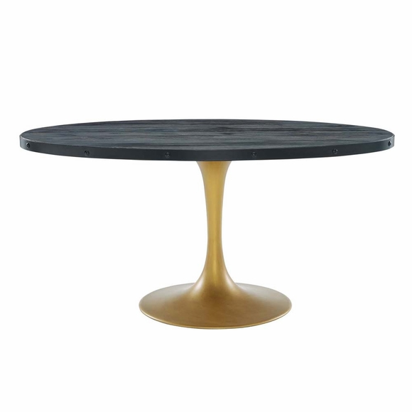 """Drive 60"""" Oval Wood Top Dining Table in Black Gold"""