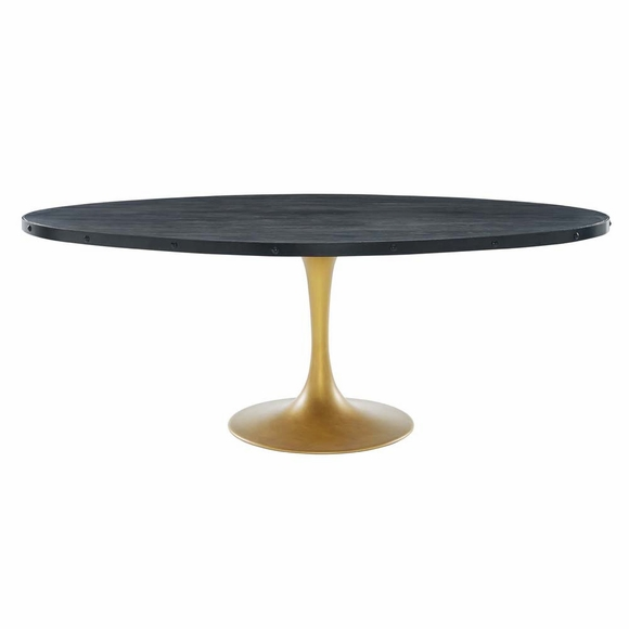 "Drive 78"" Oval Wood Top Dining Table in Black Gold"