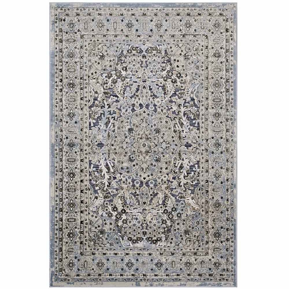 Elqenna Ornate Vintage Floral Turkish 5x8 Area Rug In Blue
