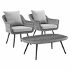 Endeavor 3 Piece Outdoor Patio Wicker Rattan Sectional Sofa Set in Gray Gray