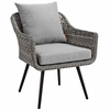 Endeavor Outdoor Patio Wicker Rattan Armchair in Gray Gray
