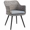 Endeavor Outdoor Patio Wicker Rattan Dining Armchair in Gray Gray