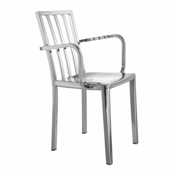 Eve Steel Dining Arm Chair in Silver