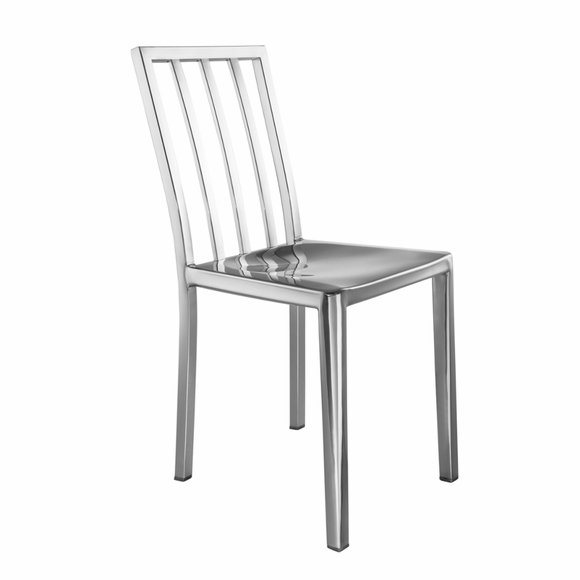 Eve Steel Dining Side Chair in Silver