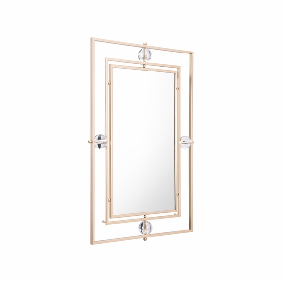 Floating Rectangle Lucite Mirror M & L in Gold & Lucite