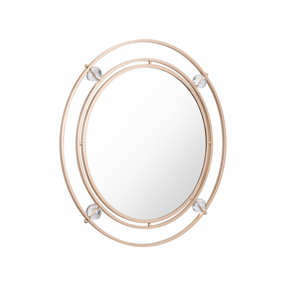 Floating Round Lucite Mirror M & L in Gold & Lucite