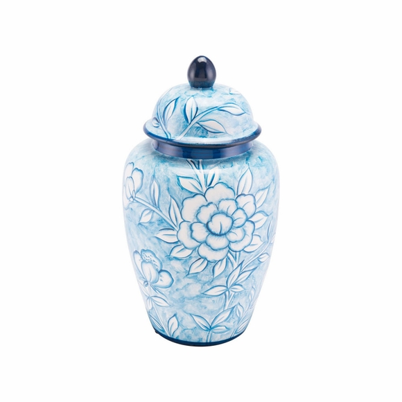 Flower Temple Large Jar in Blue & White