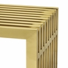 Gridiron Stainless Steel Console Table in Gold