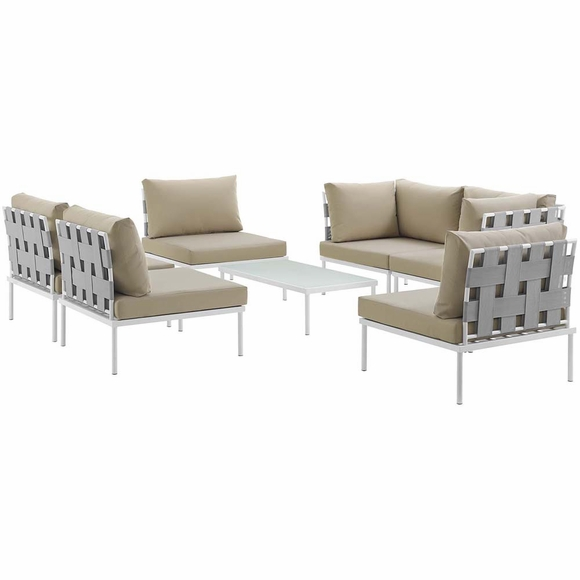 Harmony 7 Piece Outdoor Patio Aluminum Sectional Sofa Set MID-2617