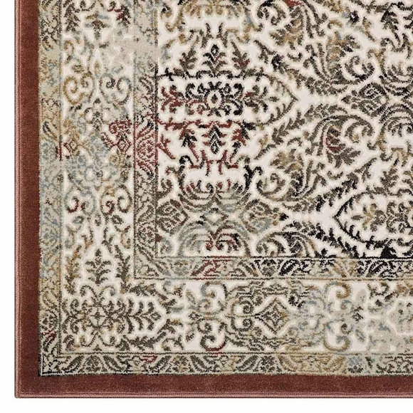Hester Ornate Turkish 8x10 Vintage Area Rug In Tan And