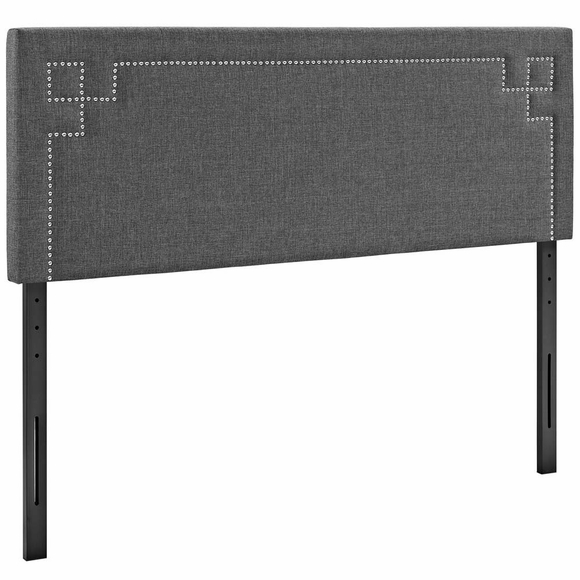 Josie Queen Fabric Headboard in Gray