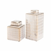 Laberint Covered Small Jar in Gold & White
