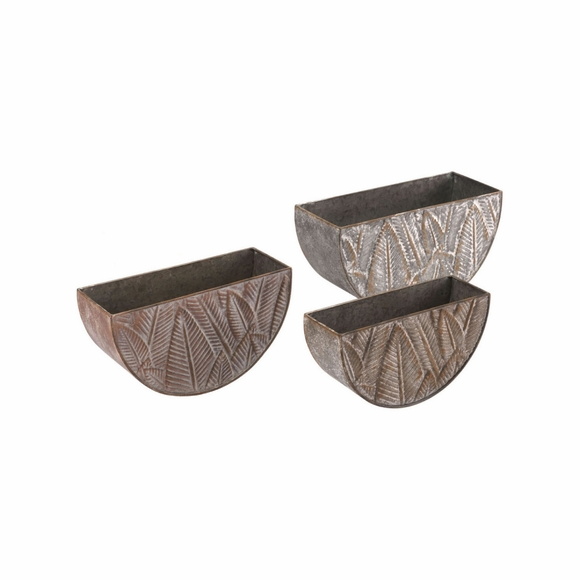 Leaves Planters Set of 3 in Multicolor