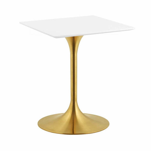 Lippa 24inch Square Dining Table in Gold White