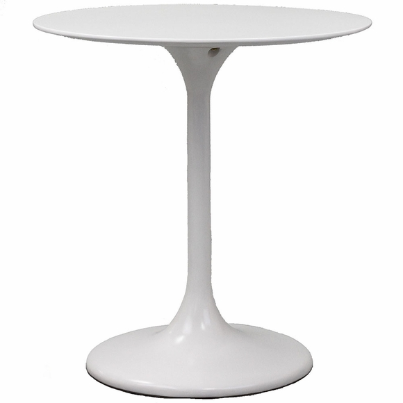 Lippa 28 Inch Round Fiberglass Dining Table in White