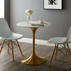 Lippa 28inch Round Dining Table in Gold White