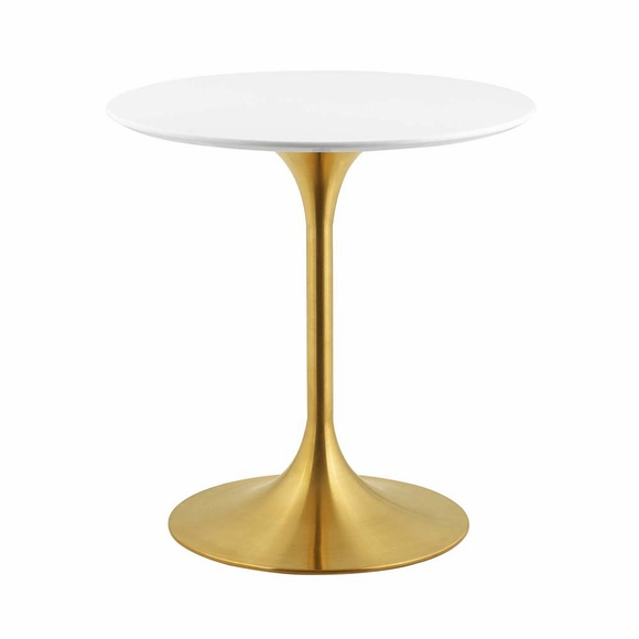 Lippa 28inch Round Dining Table in Gold White MID-3208