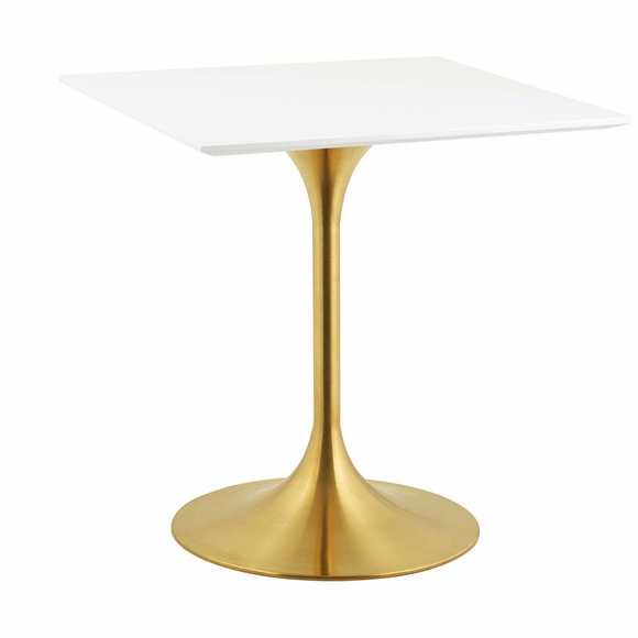 Lippa 28inch Square Dining Table in Gold White