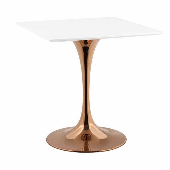 Lippa 28inch Square Dining Table in Rose White