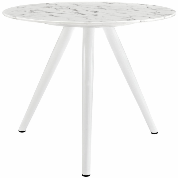 Lippa 36inch Round Artificial Marble Dining Table with Tripod Base in White