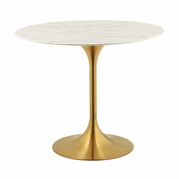 Lippa 36inch Round Dining Table in Gold White