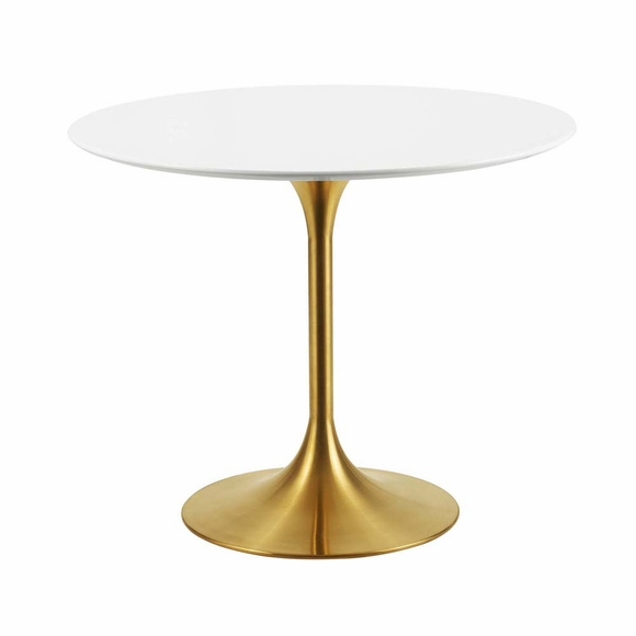 Lippa 36inch Round Dining Table in Gold White MID-3209