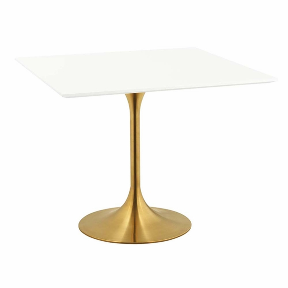 Lippa 36inch Square Dining Table in Gold White