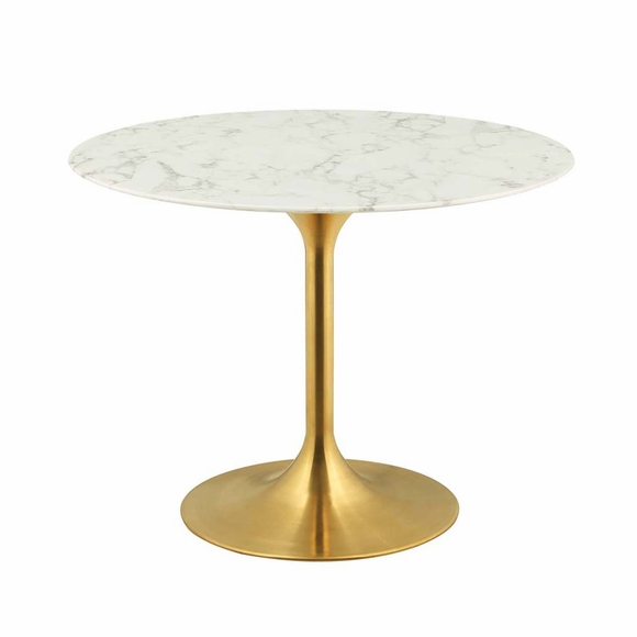 Lippa 40inch Round Dining Table in Gold White
