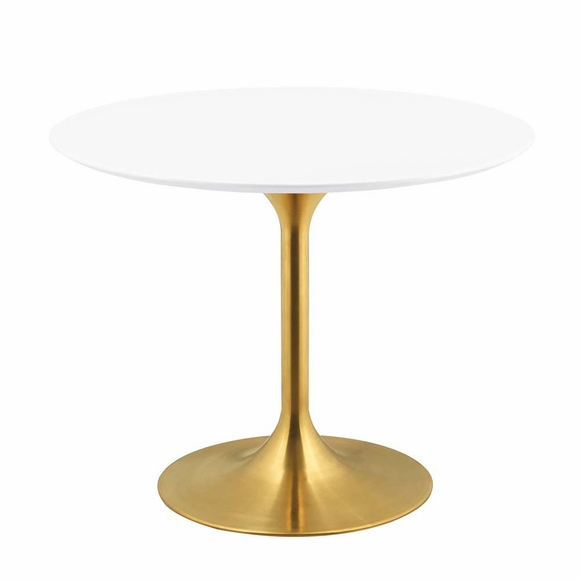 Lippa 40inch Round Dining Table in Gold White MID-3226